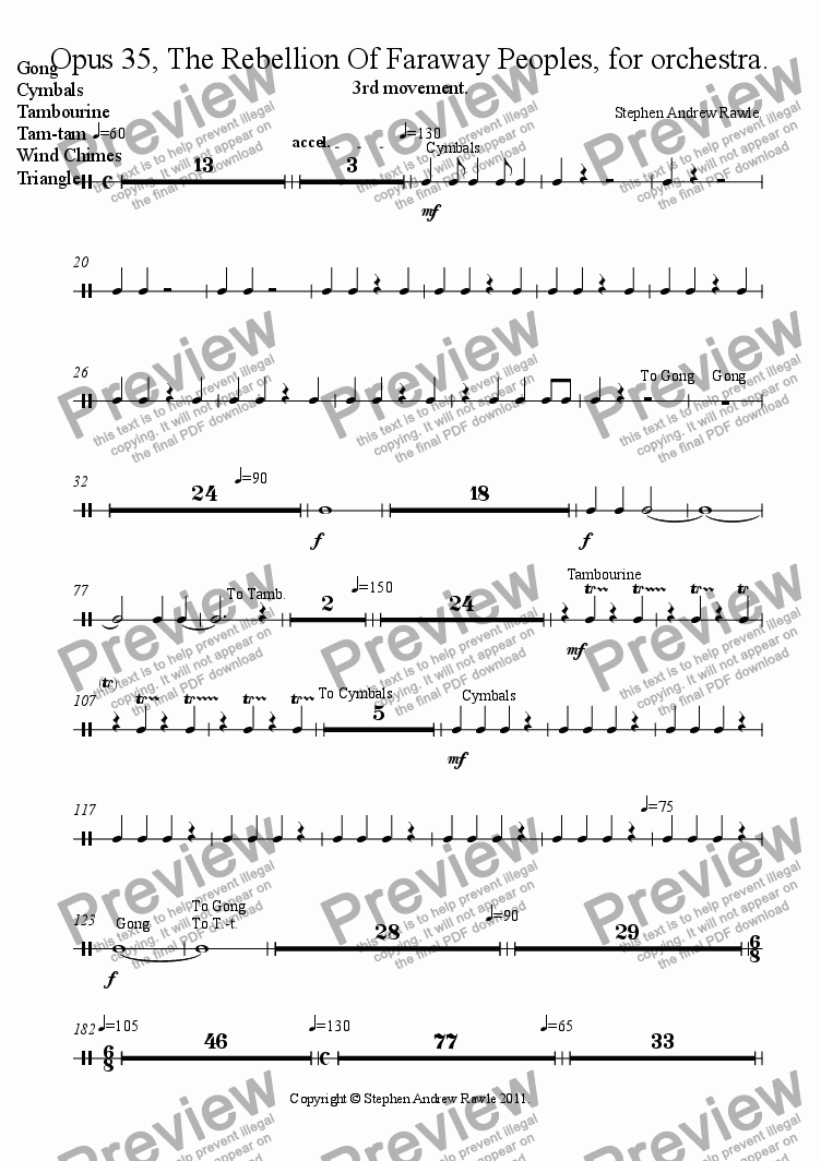 page one of the Gong, Cymbals, Tambourine, Tam-tam, Wind Chimes, Triangle part from Opus 35/3, The Rebellion Of Faraway Peoples.