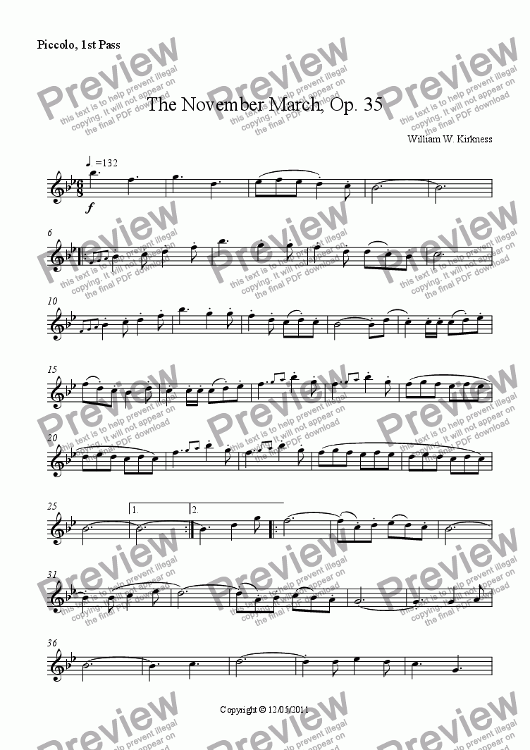 page one of the Piccolo, 1st Pass part from The November March, Op. 35
