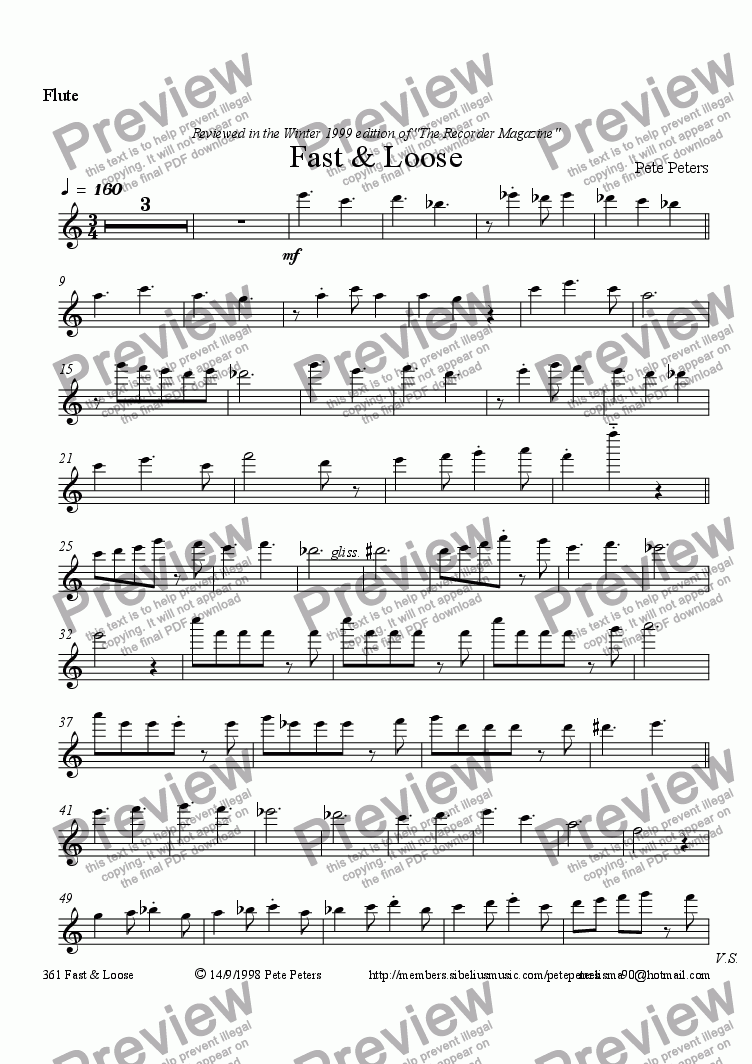 page one of the Flute part from Fast & Loose