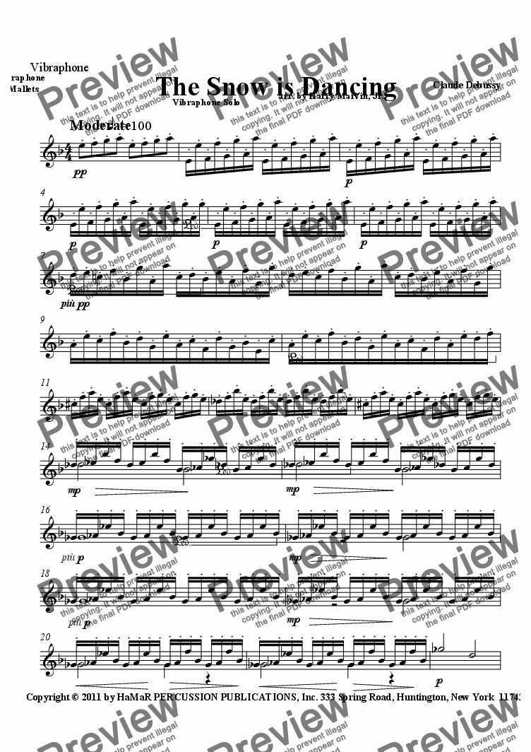 page one of the Vibraphone part from The Snow is Dancing