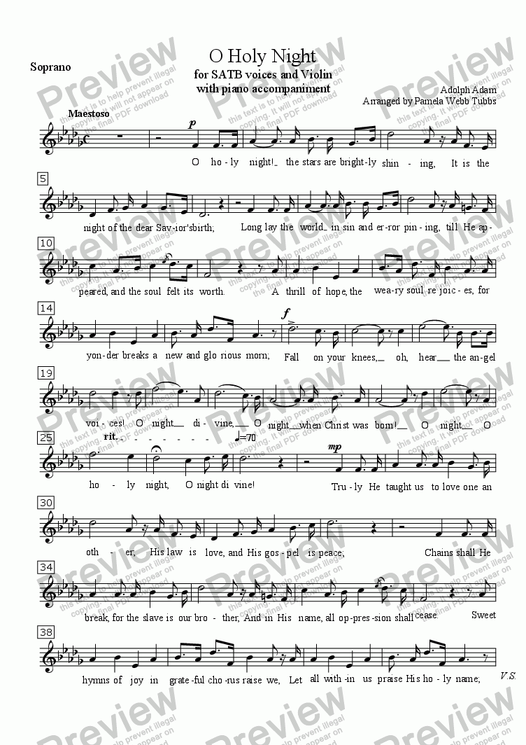 page one of the Soprano part from O Holy Night (ADAM) Christmas Anthem for 4-part (SATB) mixed voices Choir with Piano accompaniment, Soprano Solo and Violin, arr. by Pamela Webb Tubbs