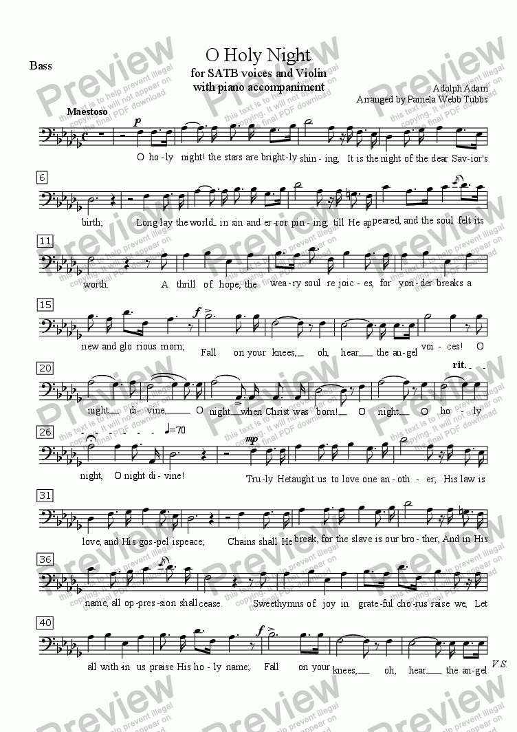 page one of the Bass part from O Holy Night (ADAM) Christmas Anthem for 4-part (SATB) mixed voices Choir with Piano accompaniment, Soprano Solo and Violin, arr. by Pamela Webb Tubbs