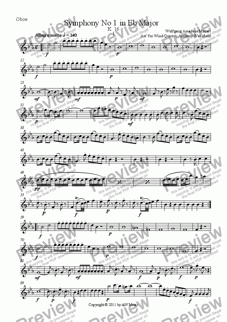 page one of the Oboe part from Symphony No 1 in Eb Major