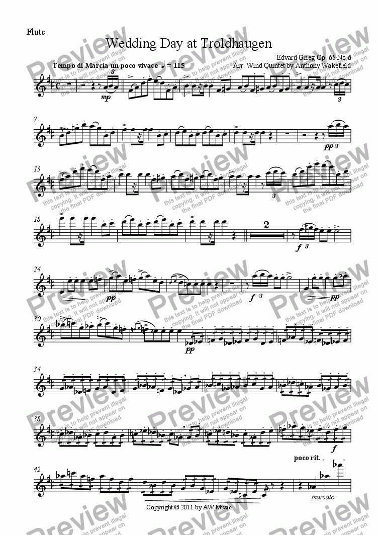 page one of the Flute part from Wedding Day at Troldhaugen