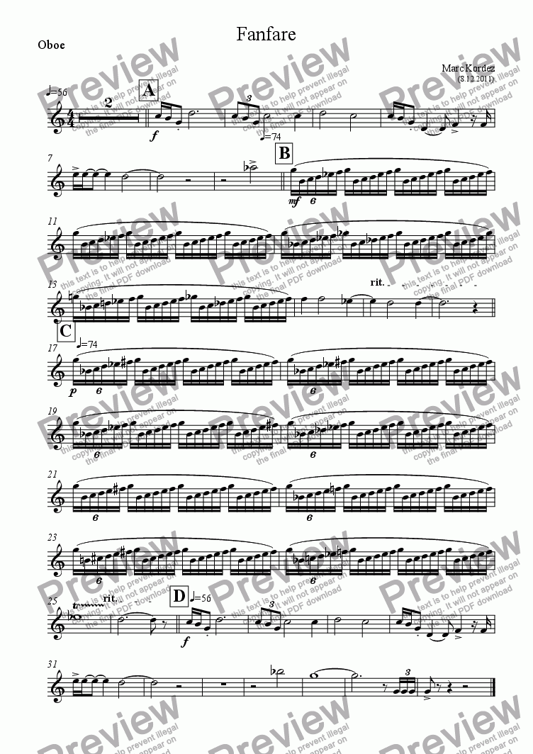 page one of the Oboe part from Fanfare