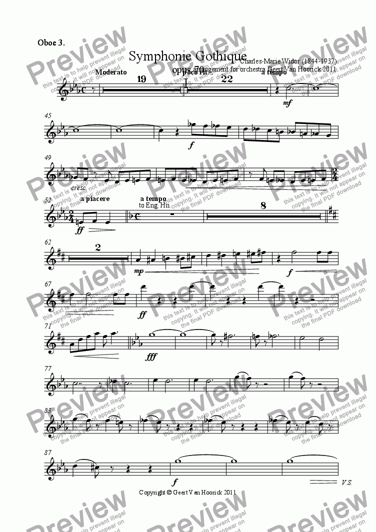 page one of the Oboe 3. part from Symphonie Gothique - I Moderato
