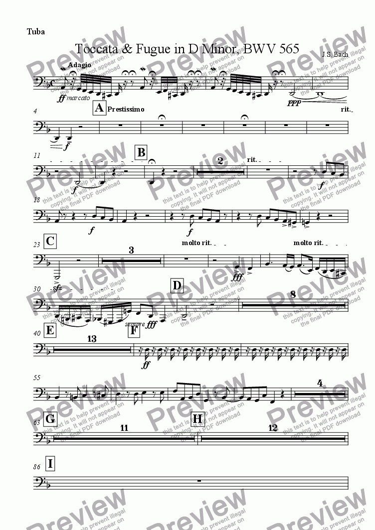 page one of the Tuba part from Toccata & Fugue in D Minor, BWV 565
