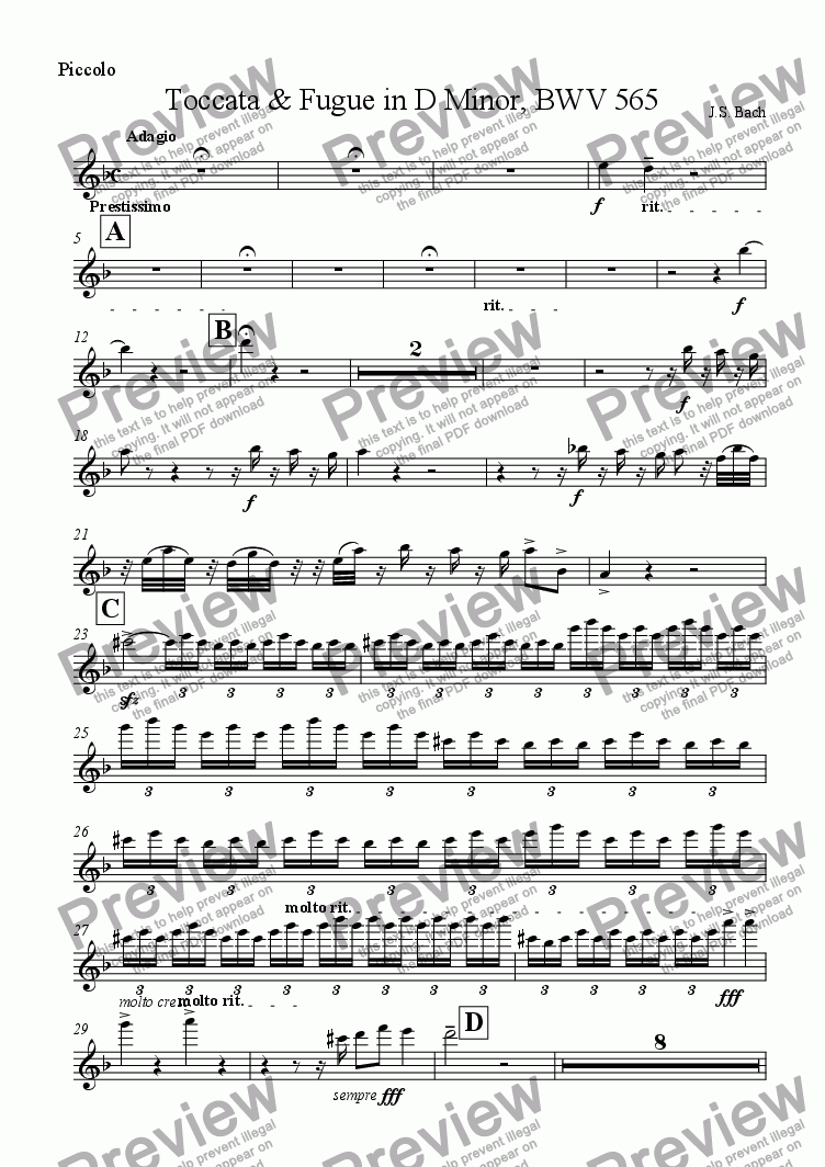 page one of the Piccolo part from Toccata & Fugue in D Minor, BWV 565