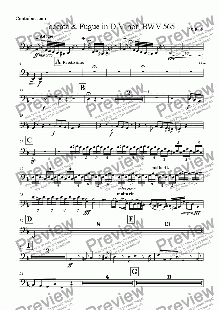 page one of the Contrabassoon part from Toccata & Fugue in D Minor, BWV 565
