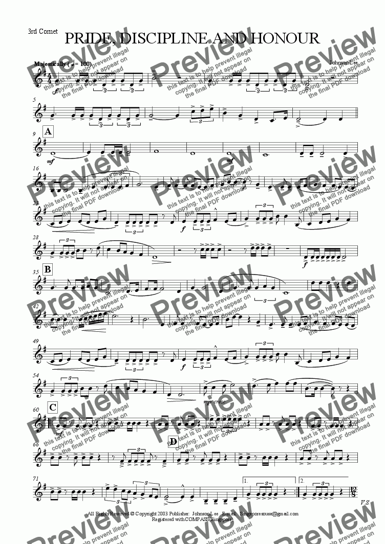 page one of the 3rd Cornet part from PRIDE, DISCIPLINE AND HONOUR (Slow March)