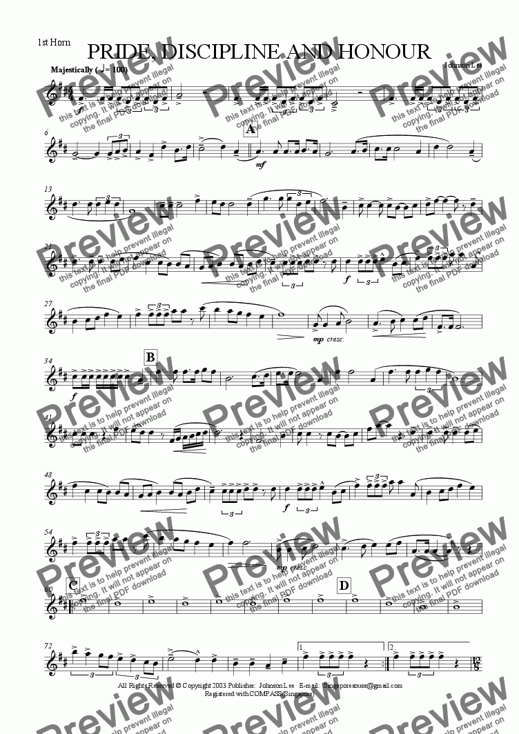 page one of the 1st Horn part from PRIDE, DISCIPLINE AND HONOUR (Slow March)