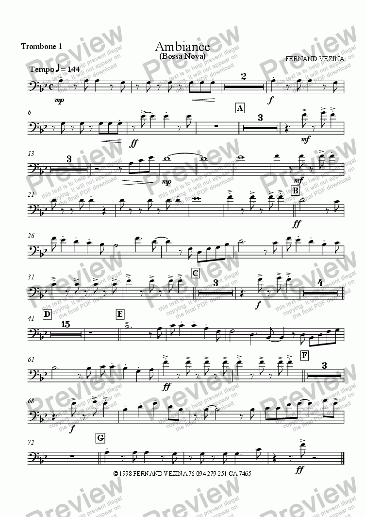 page one of the Trombone 1 part from Ambiance