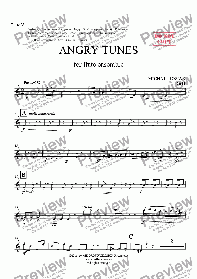 page one of the Flute V part from ANGRY TUNES