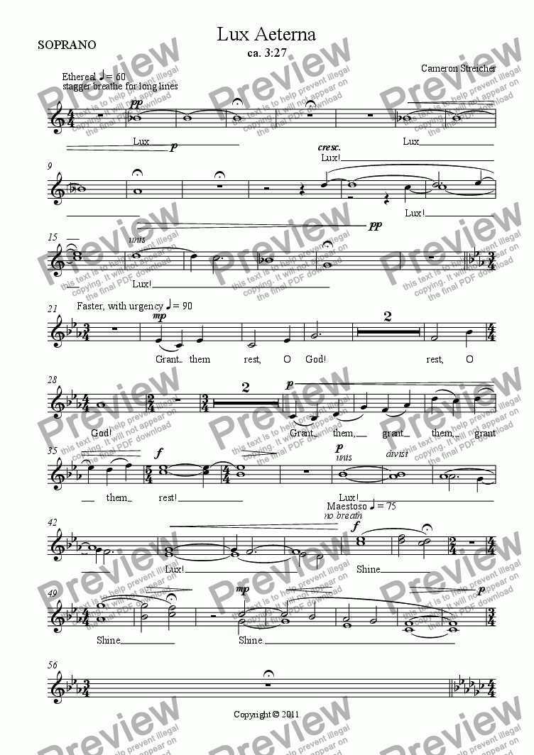 page one of the SOPRANO part from Lux Aeterna