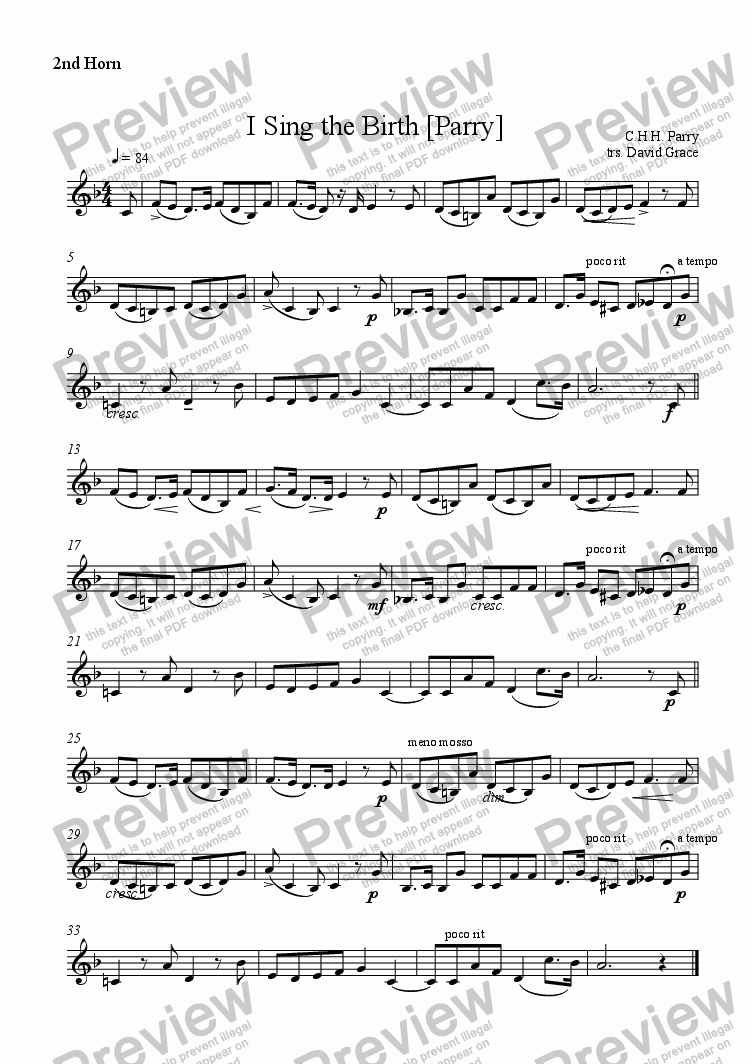 page one of the 2nd Horn part from I Sing the Birth [Parry]