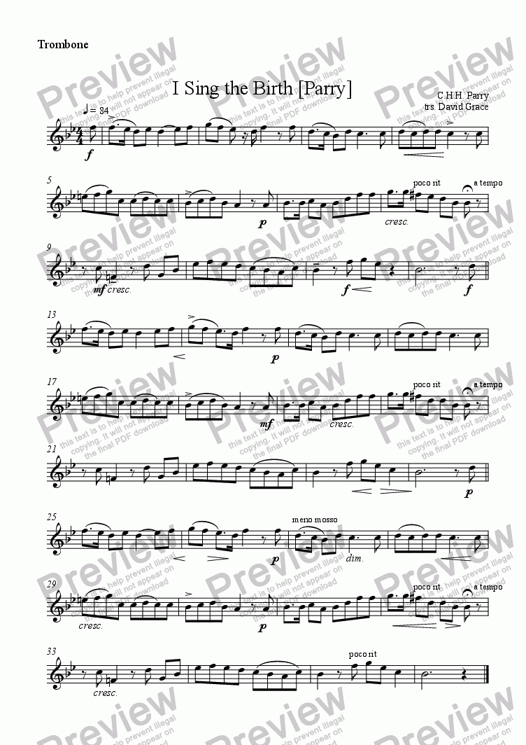 page one of the Trombone part from I Sing the Birth [Parry]