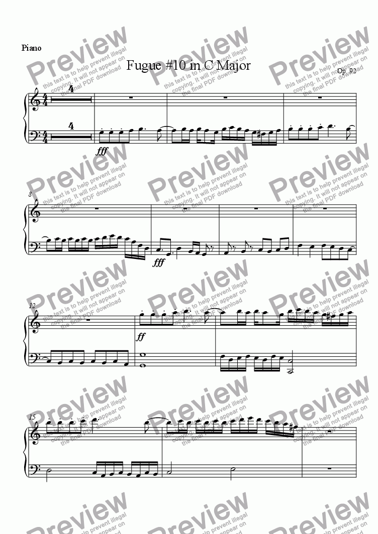 page one of the Piano part from Resonant clarity, 92