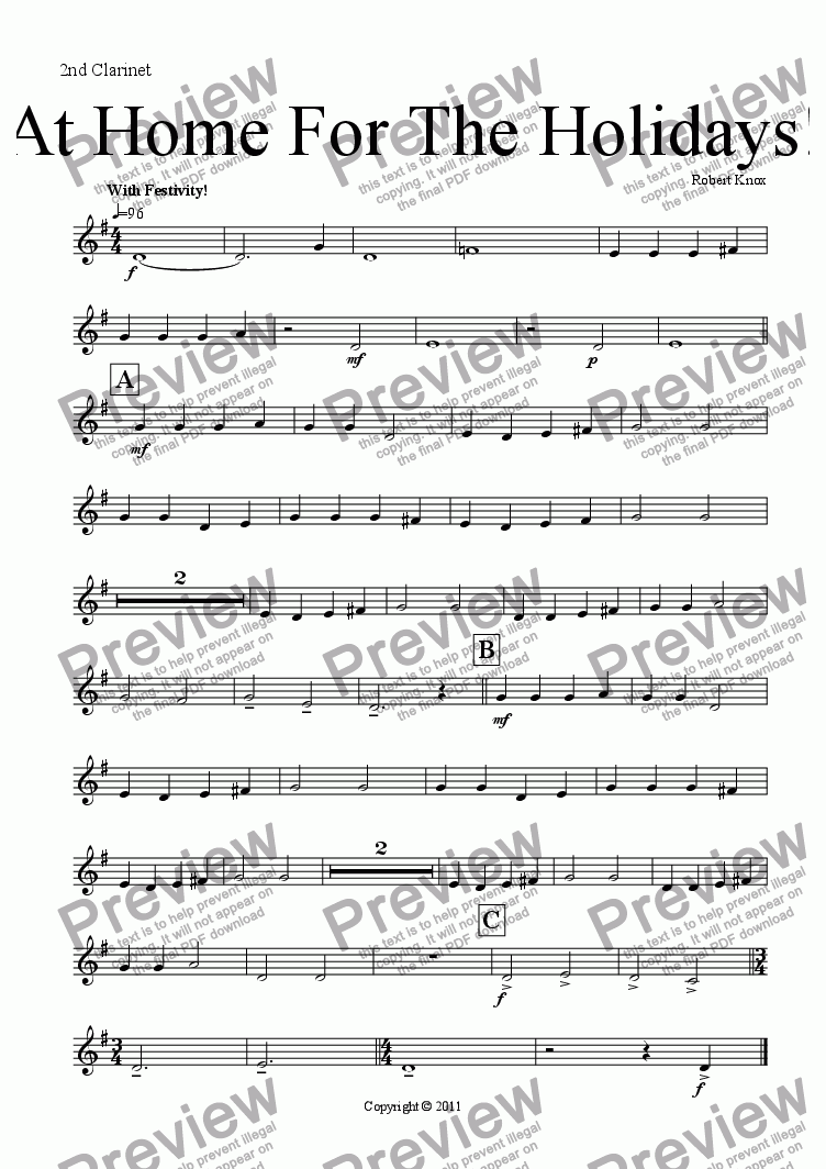 page one of the 2nd Clarinet in Bb part from At Home For The Holidays!