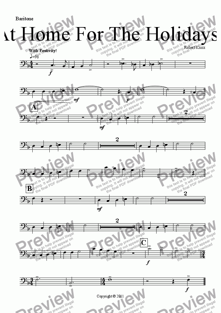 page one of the Baritone (Bass Clef) part from At Home For The Holidays!