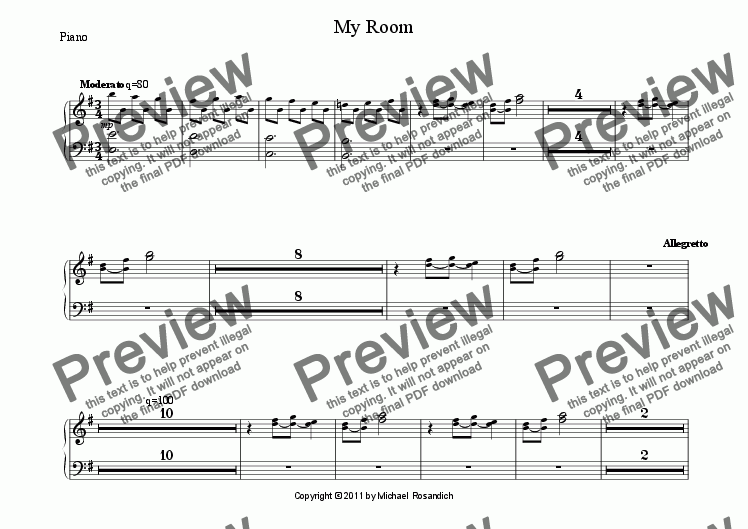 page one of the Piano part from My Room
