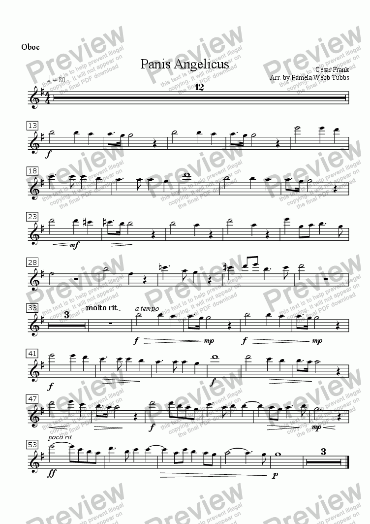 page one of the Oboe part from Panis Angelicus (FRANCK) for two C instruments (e.g., Flute Duet) with Organ accompaniment, arr. by Pamela Webb Tubbs
