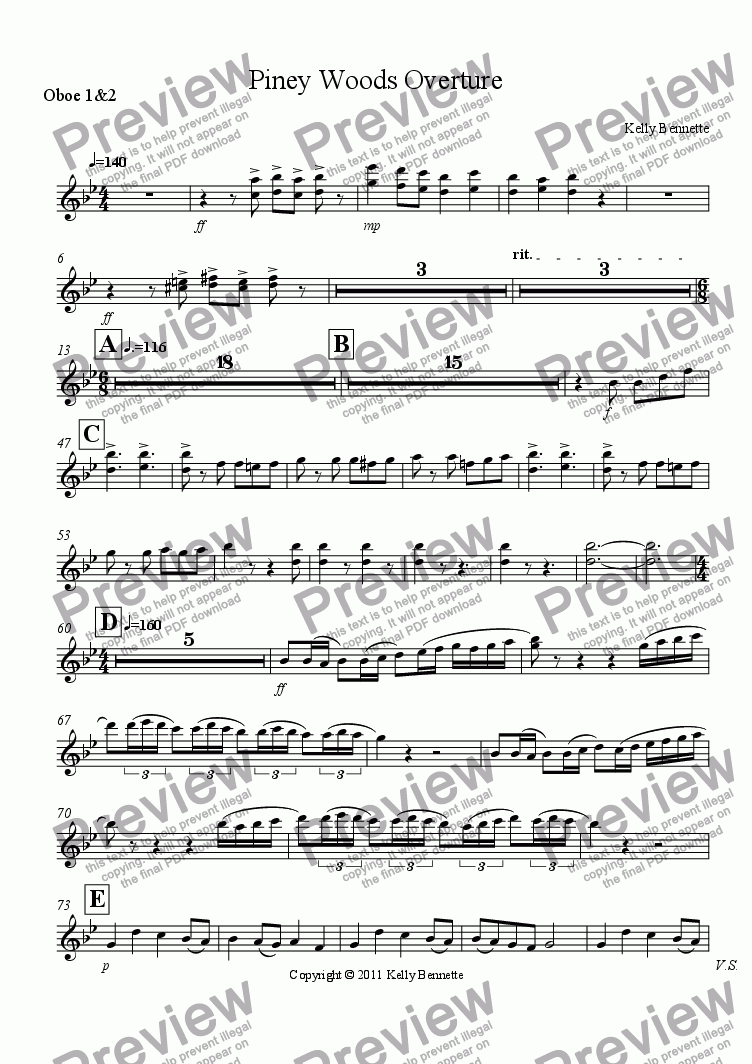 page one of the Oboe 1&2 part from Piney Woods Overture