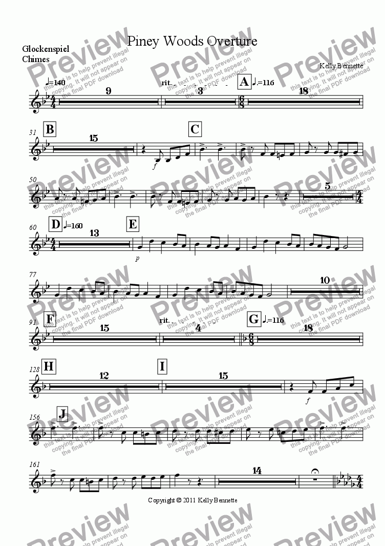 page one of the Glockenspiel part from Piney Woods Overture