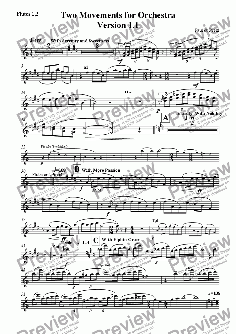 page one of the Flutes 1,2 part from Two Movements for Orchestra, Version 1.1
