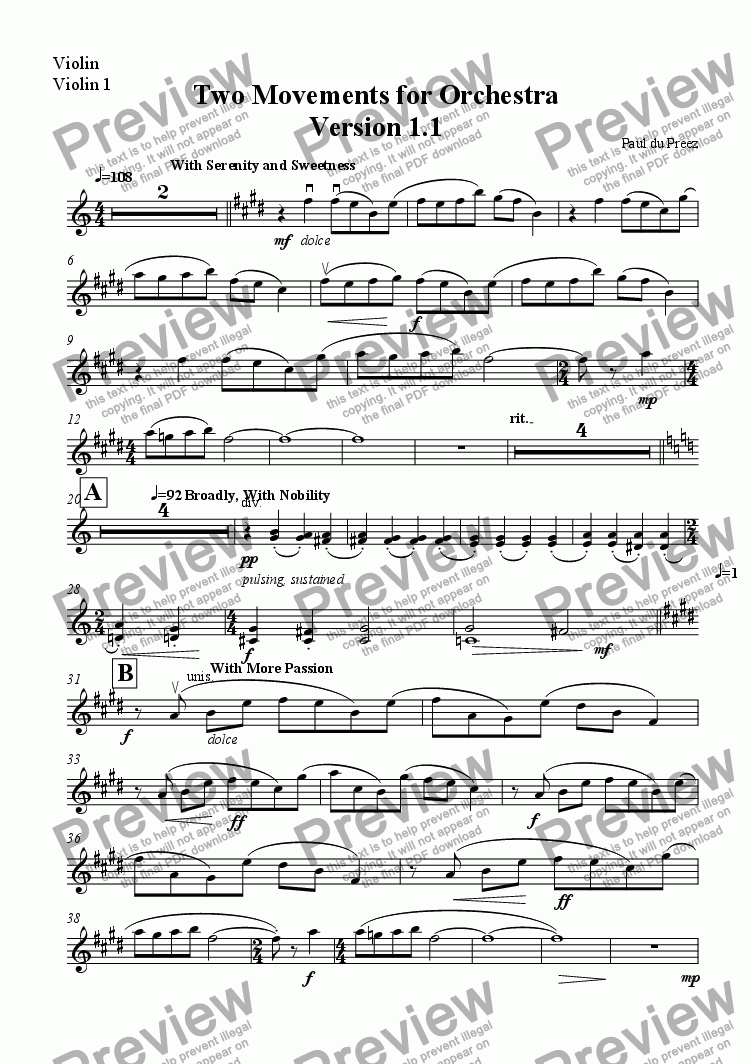 page one of the Violin, Violin 1 part from Two Movements for Orchestra, Version 1.1