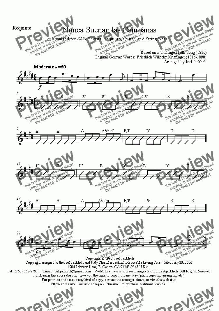 page one of the Requinto part from Nunca Suenan las Campanas