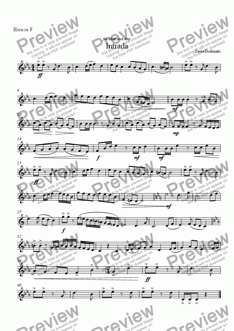 page one of the French Horn part from Intrada