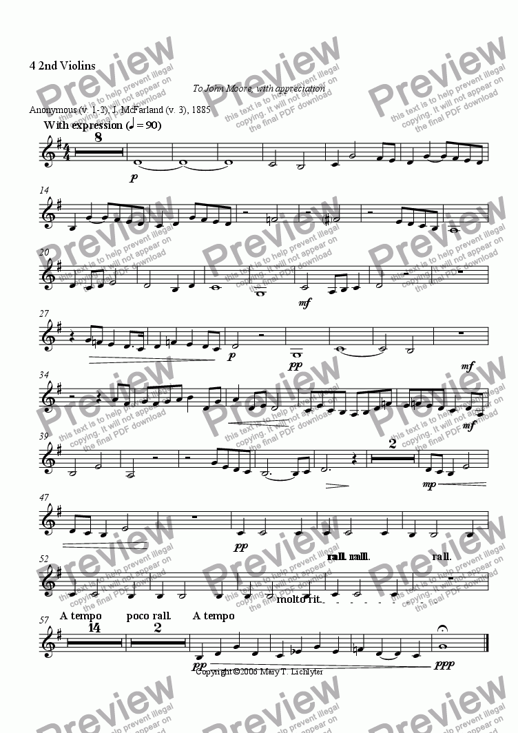 page one of the 4 2nd Violins part from Away in a Manger