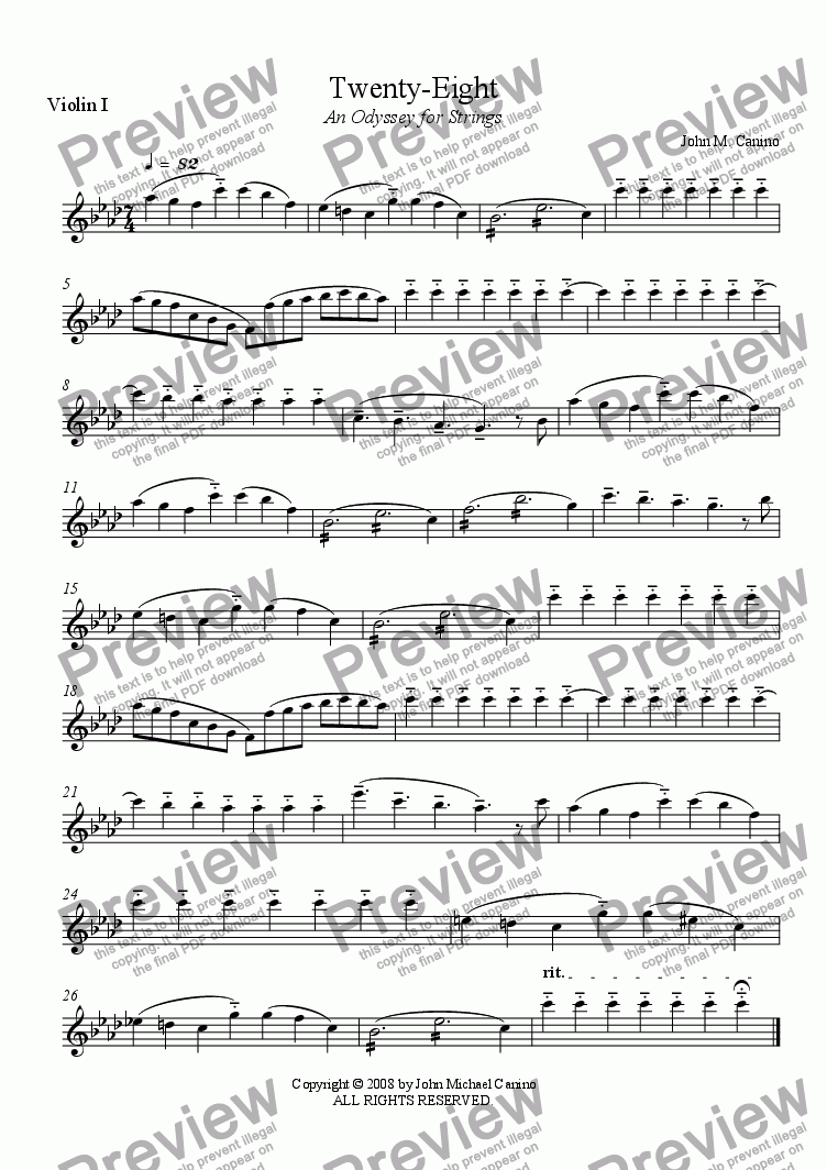 page one of the Violin I part from Twenty-Eight