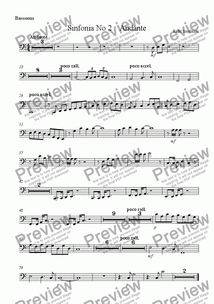 page one of the Bassoons part from Sinfonia No 2 .  Andante