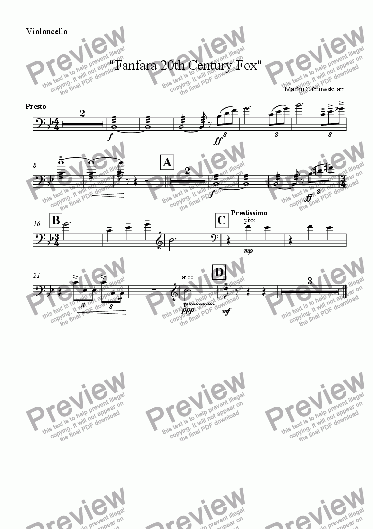 "page one of the Violoncello part from ""Fanfara 20th Century Fox"""