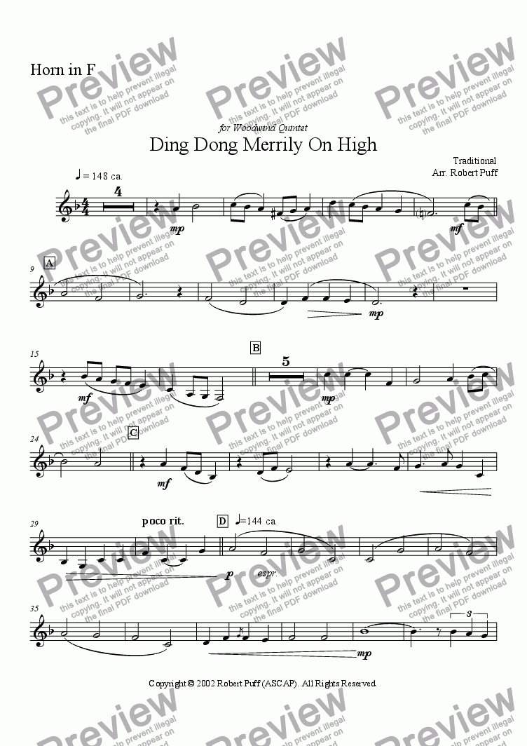 page one of the horn part from Ding Dong Merrily On High (woodwind quintet)