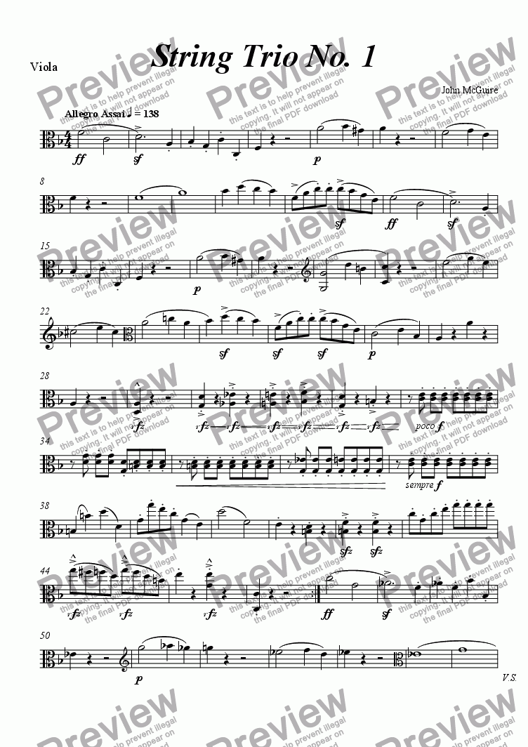 page one of the Viola part from String Trio No. 1