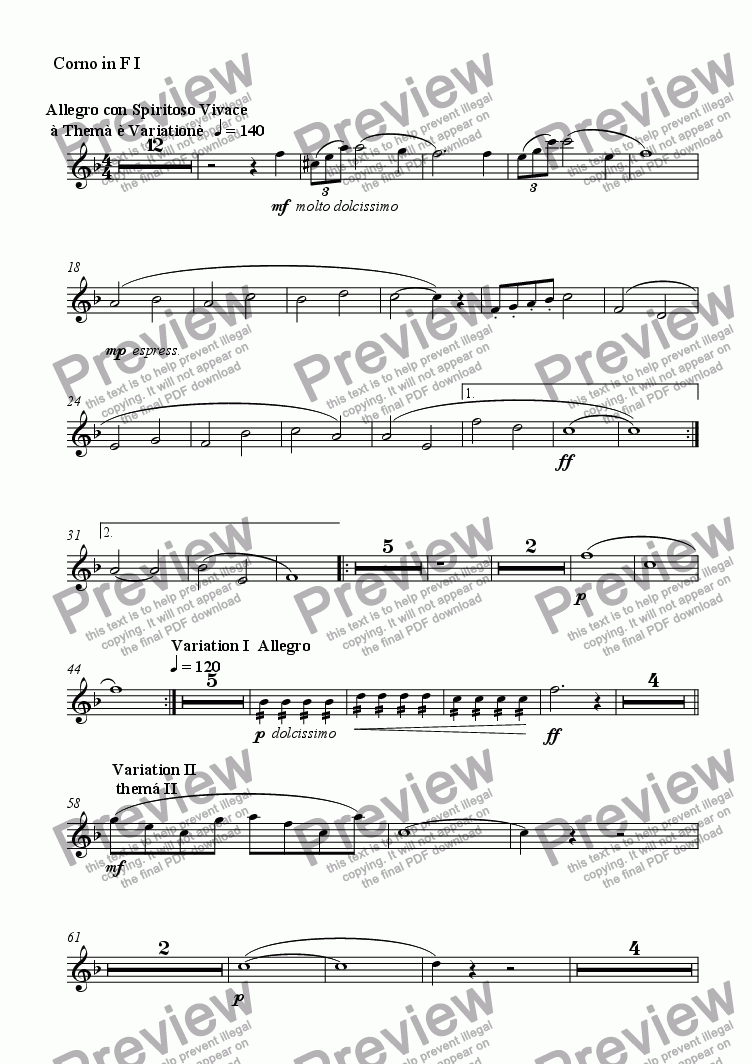 page one of the Corno in F I part from Serenade No. 1