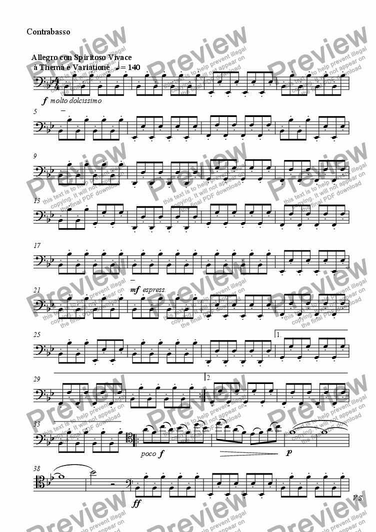 page one of the Contrabasso part from Serenade No. 1
