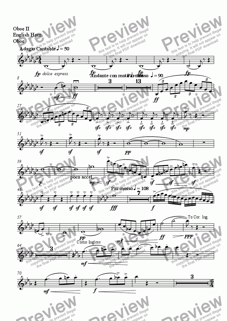 page one of the Oboe II, English Horn, Oboe part from Serenade No. 2