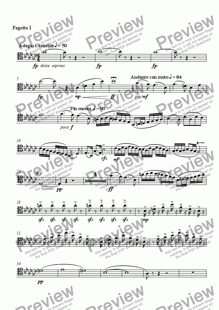 page one of the Fagotto I part from Serenade No. 2