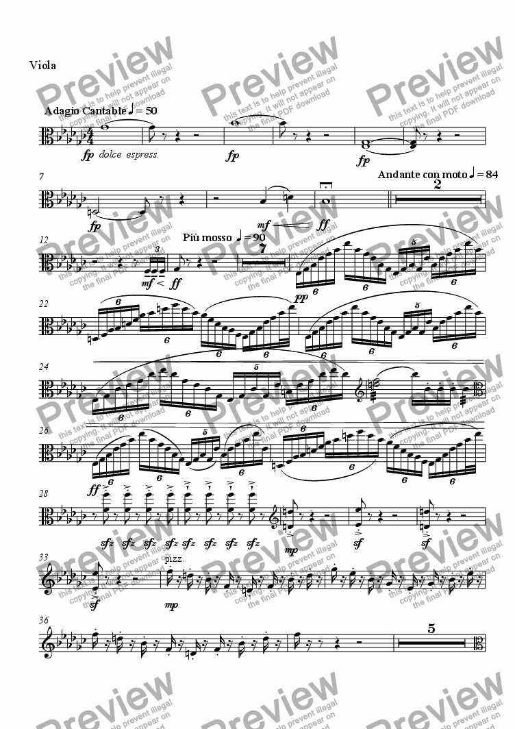 page one of the Viola part from Serenade No. 2