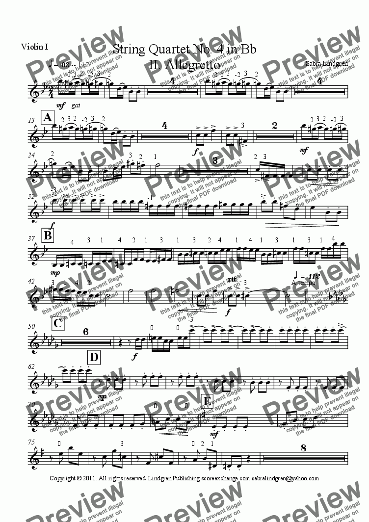 page one of the Violin I part from String Quartet No. 4 in Bb II. Allegretto