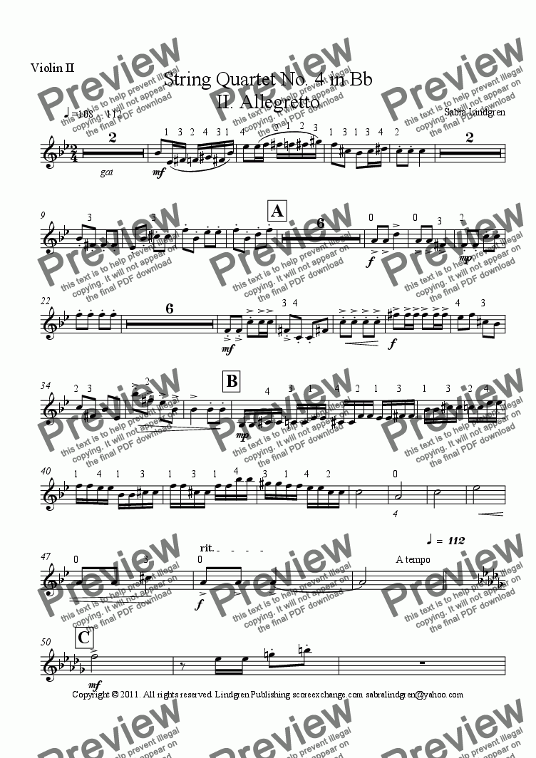page one of the Violin II part from String Quartet No. 4 in Bb II. Allegretto