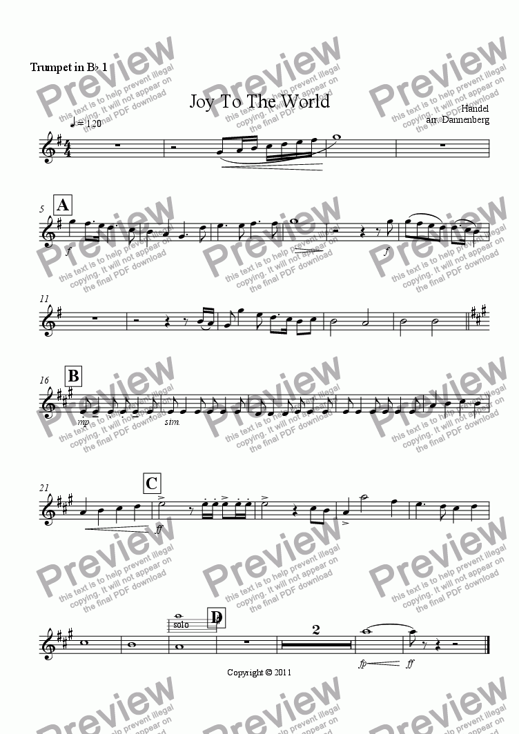 page one of the Trumpet in B^b 1 part from Joy To The World