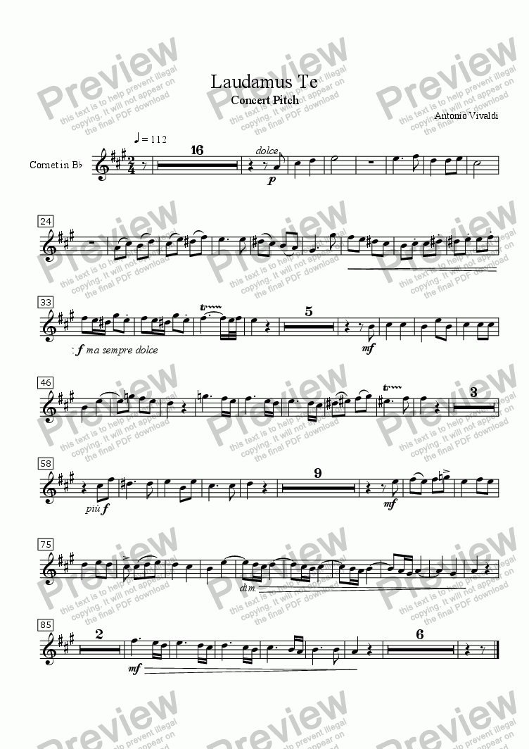 "page one of the Cornet in Bb part from Laudamus Te (VIVALDI) (from ""Gloria"") 2-part Duet for Treble Instruments (e.g., Flute, Oboe, Violin, Cornet, etc.), RV 589, with Piano accompaniment, arr. by Pamela Webb Tubbs"