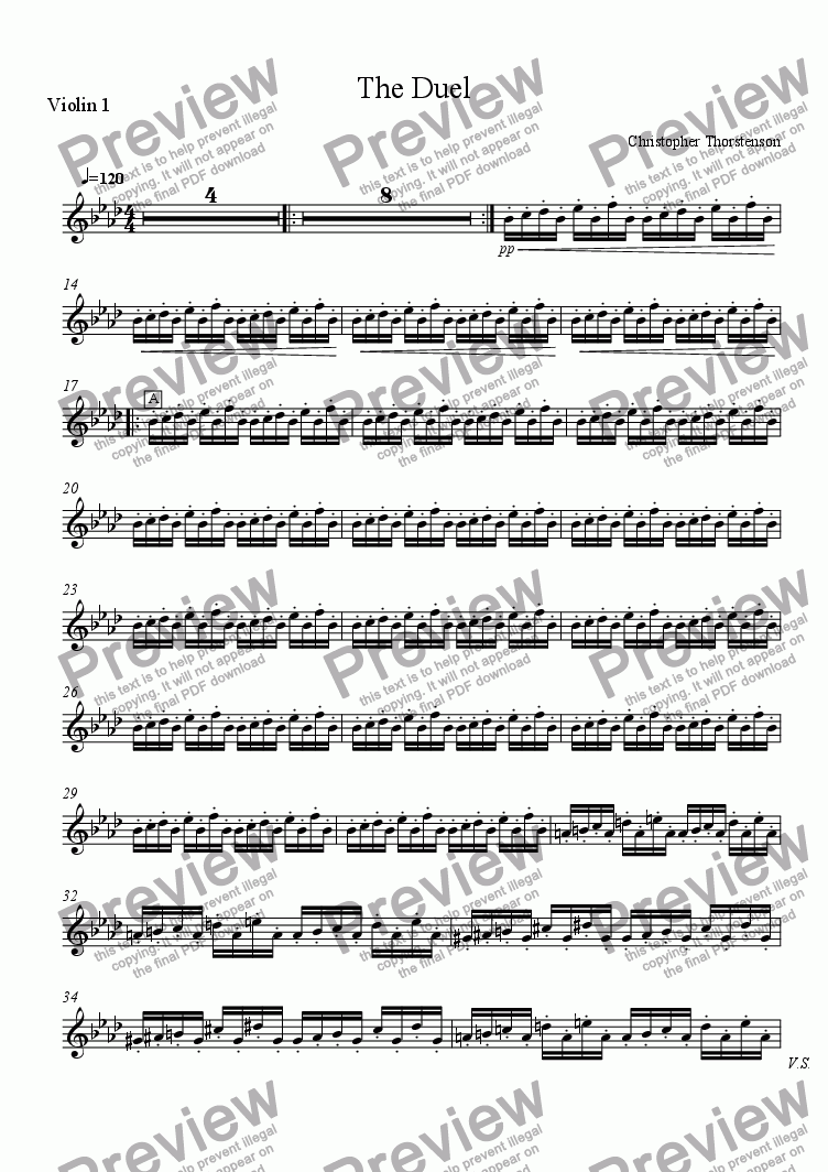 page one of the Violin 1 part from The Duel