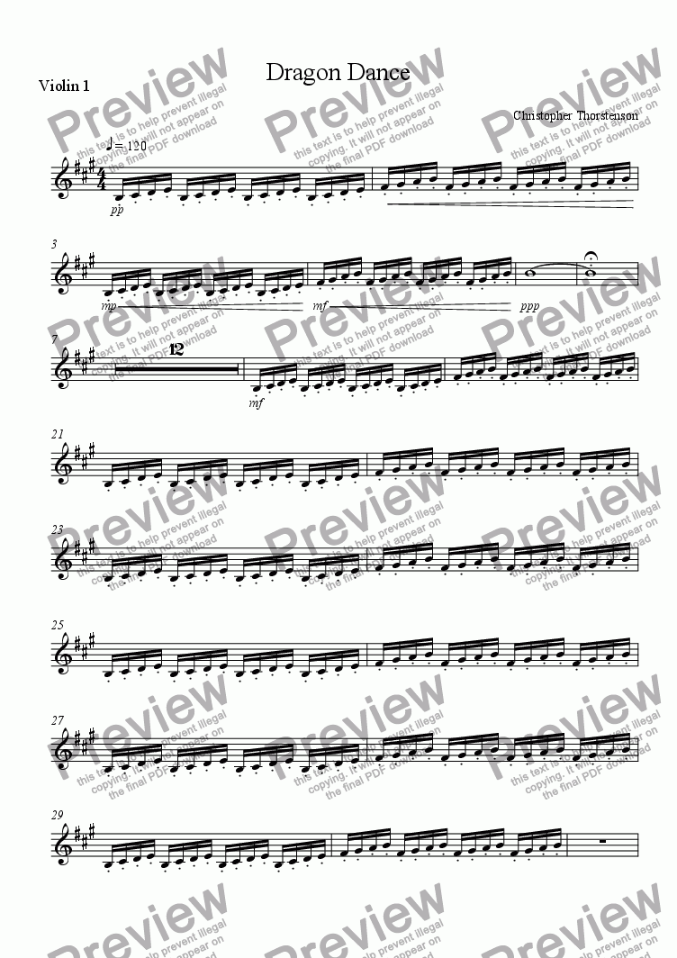 page one of the Violin 1 part from Dragon Dance