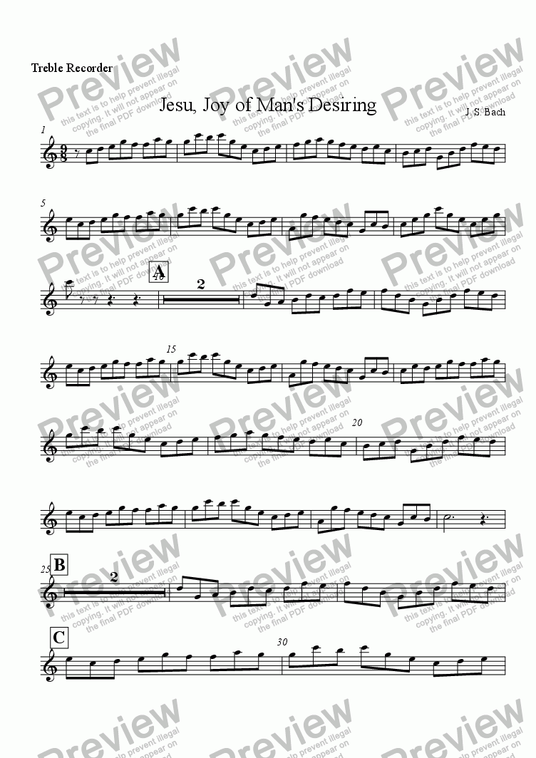 page one of the Treble Recorder part from Jesu, Joy of Man's Desiring for Treble Recorder and Organ