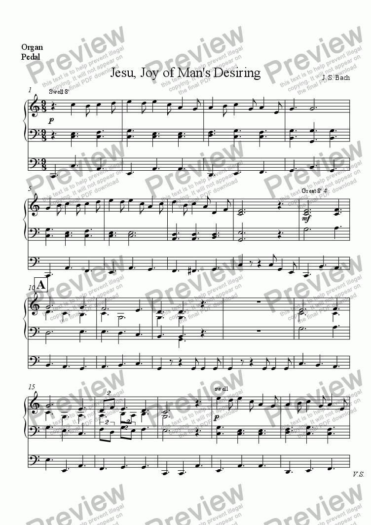 page one of the Organ part from Jesu, Joy of Man's Desiring for Treble Recorder and Organ